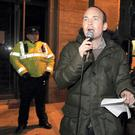 Paul Murphy TD pictured at the Anti-Austerity Alliance protest which took place outside the Department of Justice on Stephen Green, Dublin