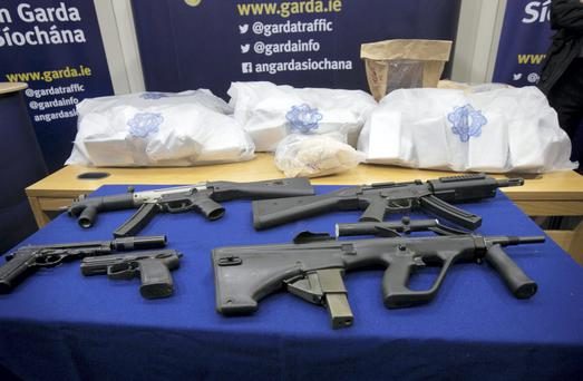 Items on display at Garda HQ, Phoenix Park following a drugs seizure in Clondalkin, Dublin. The items included suspected cocaine, suspected heroin with an estimated street value of almost €5m, A handgun,firearms including three sub-machine guns and ammunition. Photo: Gareth Chaney Collins