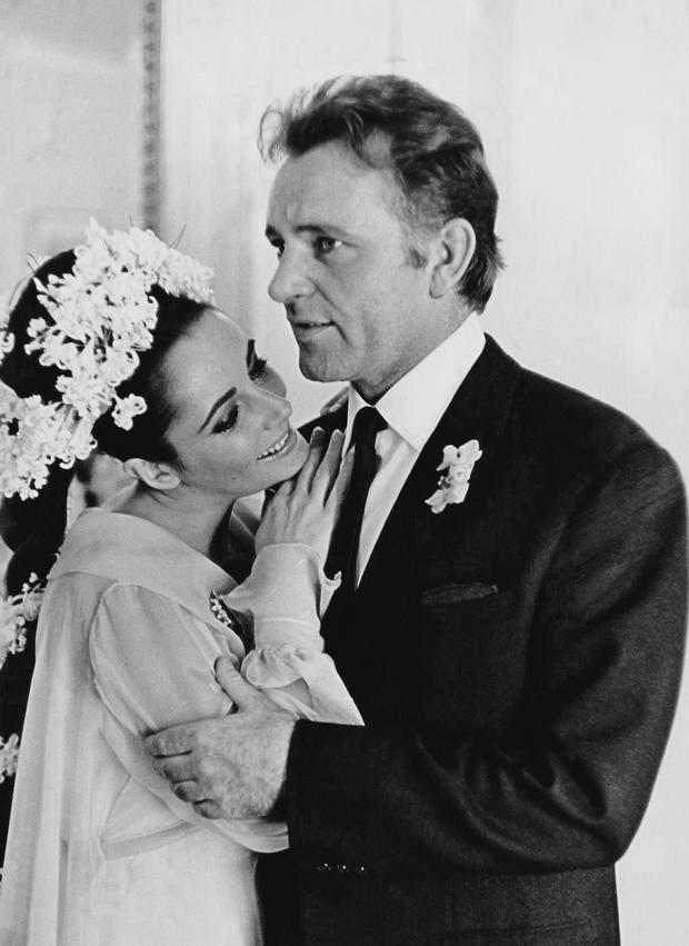 Film stars Elizabeth Taylor (1932 - 2011) and Richard Burton (1925 - 1984) at their first wedding in Montreal, Canada.