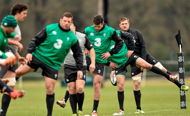 Ireland's Jamie Heaslip, extreme right, during a squad training session ahead of their RBS Six Nations Rugby Championship game against France in the Aviva Stadium