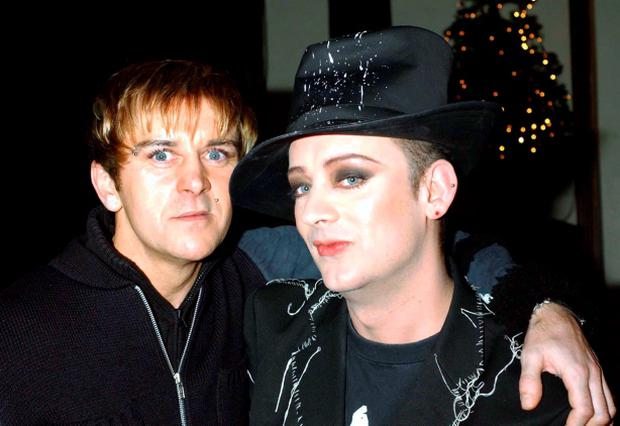 File photo dated 14/12/01 of Steve Strange (left) and Boy George as as the New Romantic pioneer Strange has died of a heart attack in Egypt at the age of 55