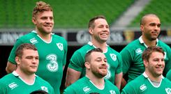 Ireland players, clockwise, from top left, Ian Madigan, Isaac Boss, Simon Zebo, Sean O'Brien, Jack McGrath and Cian Healy pose for a squad photograph ahead of the captain's run. Picture credit: Ramsey Cardy / SPORTSFILE
