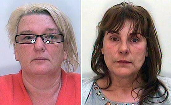 North Yorkshire Police undated handout photo of Amanda Carroll (left) and Wendy Bell who have been jailed at Bradford Crown Court after they defrauded an elderly Parkinson's sufferer out of more than half a million pounds. Photo: North Yorkshire Police/PA