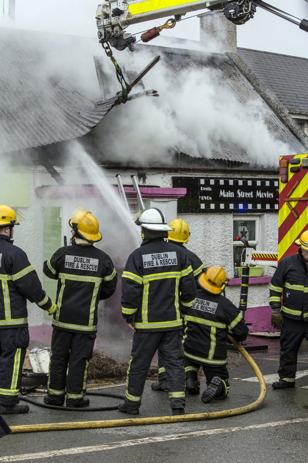 Fire officers fight a blaze at Lifes2Short in Lusk, Co Dublin. Pic: Mark Condren
