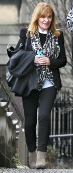 Anne Cahalane pictured leaving the Four Courts yesterday after giving evidence in the High Court action for damages by Ian Bailey. Picture: Courts Collins