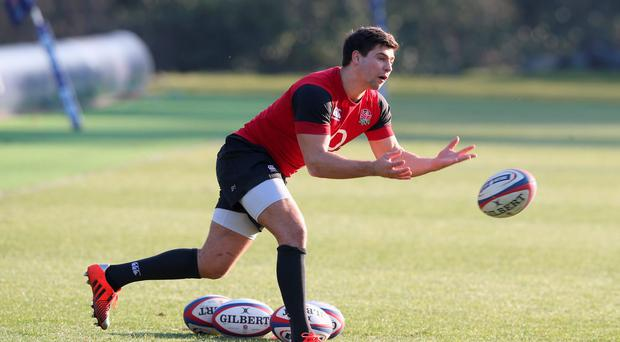 Ben Youngs passes the ball during the England training session