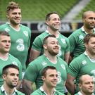 Ireland players, clockwise, from top left, Ian Madigan, Isaac Boss, Simon Zebo, Sean O'Brien, Rory Best, Tommy Bowe, Conor Murray, Jack McGrath and Cian Healy pose for a squad photograph ahead of the captain's run.