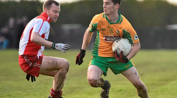 Ian Burke, right, in action for Corofin against Brian Collins, Tir Chonaill Gaels