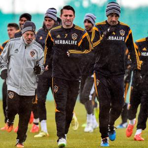 Robbie Keane, LA Galaxy, along with hiis team-mate's during training