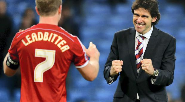 Middlesborough manager Aitor Karanka celebrates with Grant Leadbitter after beating Manchester City in the FA Cup