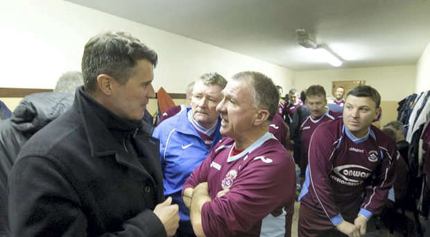Roy Keane in the dressing room chatting with Fergie Mc Daid at St Colman's Park last night when he acted as Asst Mgr for Cobh Ramblers Old boys who were playing a charity game against Springmout in aid of Cobh Hospital.