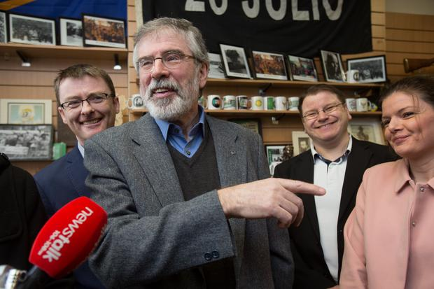 Sinn Fein leader Gerry Adams talks to the media at the party offices in Parnell Square this morning. Photo: Tony Gavin