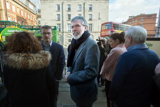 Sinn Fein leader Gerry Adams arrives at the party offices in Parnell Square for a press conference this morning. Photo: Tony Gavin