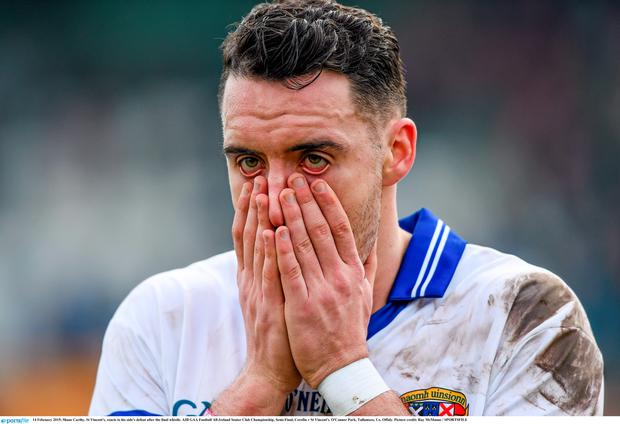 14 February 2015; Shane Carthy, St Vincent's, reacts to his side's defeat after the final whistle. AIB GAA Football All-Ireland Senior Club Championship, Semi-Final, Corofin v St Vincent's. O'Connor Park, Tullamore, Co. Offaly. Picture credit: Ray McManus / SPORTSFILE