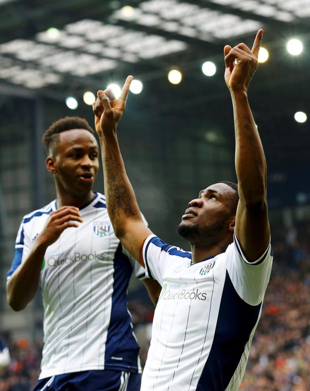 REFILE - CORRECTING TO FA CUP MATCH Brown Ideye of West Bromwich Albion celebrates scoring against West Ham United during their FA Cup fifth round soccer match at the Hawthorns in West Bromwich, England, February 14, 2015. REUTERS/Darren Staples (BRITAIN - Tags: SPORT SOCCER)
