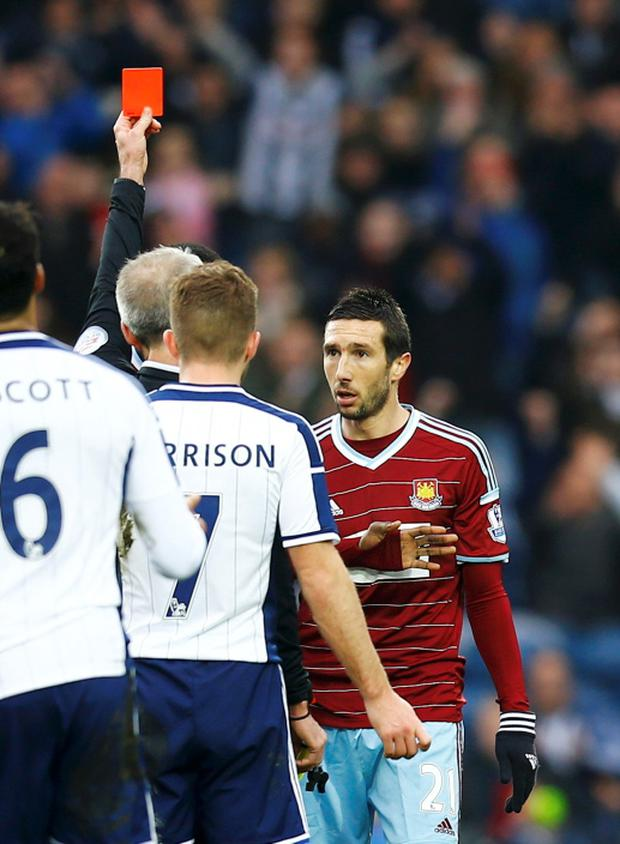 REFILE - CORRECTING TO FA CUP MATCH Morgan Amalfitano of West Ham United is sent off by referee Martin Atkinson during their FA Cup fifth round soccer match against West Bromwich Albion at the Hawthorns in West Bromwich, England, February 14, 2015. REUTERS/Darren Staples (BRITAIN - Tags: SPORT SOCCER)