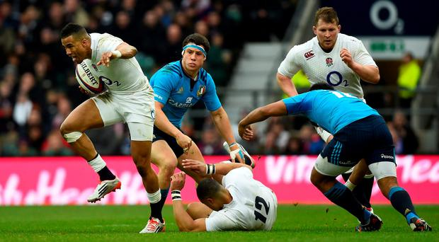 Anthony Watson of England makes a break during the RBS Six Nations match between England and Italy at Twickenham Stadium on February 14, 2015 in London, England. (Photo by Mike Hewitt/Getty Images)