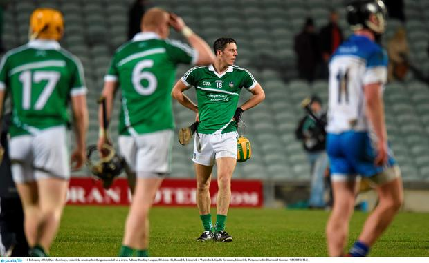 14 February 2015; Dan Morrissey, Limerick, reacts after the game ended as a draw. Allianz Hurling League, Division 1B, Round 1, Limerick v Waterford. Gaelic Grounds, Limerick. Picture credit: Diarmuid Greene / SPORTSFILE