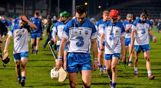 14 February 2015; Waterford players, including Shane Fives, centre, leave the pitch after the game. Allianz Hurling League, Division 1B, Round 1, Limerick v Waterford. Gaelic Grounds, Limerick. Picture credit: Diarmuid Greene / SPORTSFILE