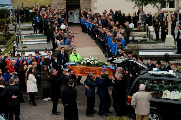 Hundreds of people attend the funeral of schoolboy Oisin McGrath, 13, at St Patrick's Church in Holywell, Belcoo Co. Fermanagh