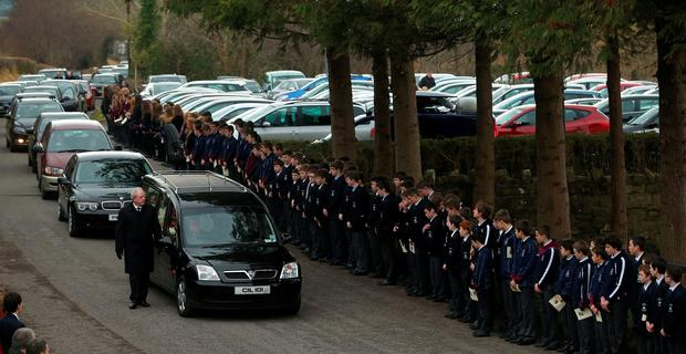 Hundreds of of schoolchildren line the route of the funeral of schoolboy Oisin McGrath, 13, at St Patrick's Church in Holywell, Belcoo Co. Fermanagh