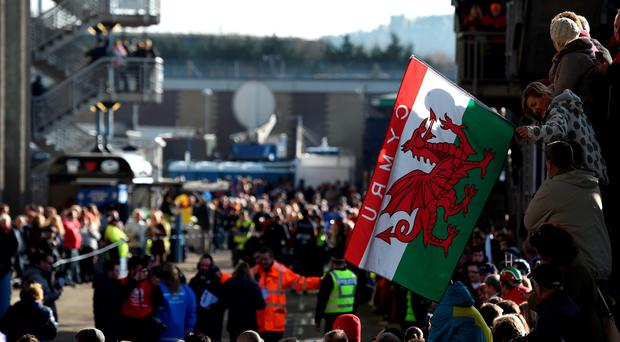 Wales fans before the RBS Six Nations match at the BT Murrayfield Stadium, Glasgow. PRESS ASSOCIATION Photo. Picture date: Sunday February 15, 2015. See PA story RUGBYU Scotland. Photo credit should read: Owen Humphreys/PA Wire
