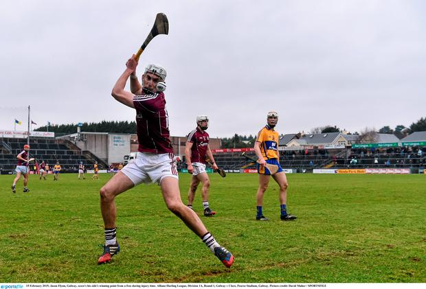 Jason Flynn, Galway, score's his side's winning point from a free during injury time