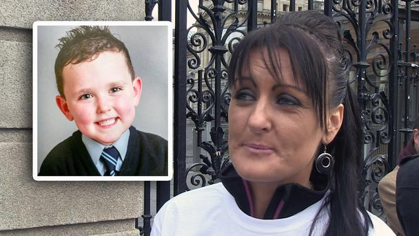 Roseann Brennan outside Leinster House this afternoon and (inset) Jake Brennan
