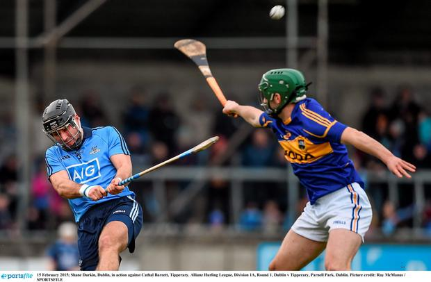15 February 2015; Shane Durkin, Dublin, in action against Cathal Barrett, Tipperary. Allianz Hurling League, Division 1A, Round 1, Dublin v Tipperary, Parnell Park, Dublin. Picture credit: Ray McManus / SPORTSFILE
