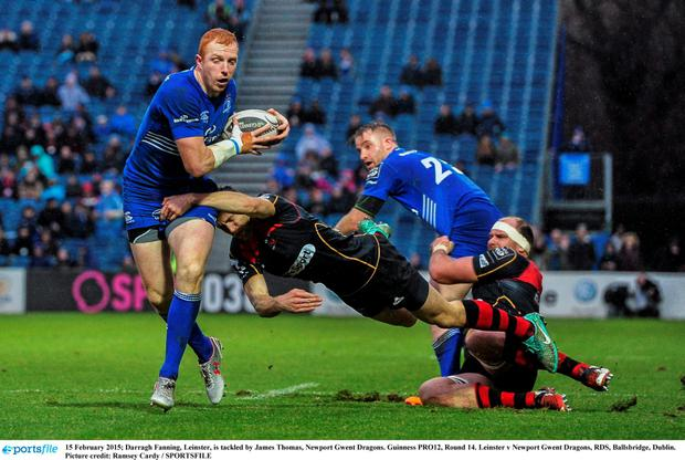15 February 2015; Darragh Fanning, Leinster, is tackled by James Thomas, Newport Gwent Dragons. Guinness PRO12, Round 14. Leinster v Newport Gwent Dragons, RDS, Ballsbridge, Dublin. Picture credit: Ramsey Cardy / SPORTSFILE