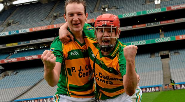 15 February 2015; Bennettsbridge's Aidan Cleere, left, and Darragh Weafer celebrate after the game. AIB GAA Hurling All-Ireland Junior Club Championship Final, Bennettsbridge v Fullen Gaels, Croke Park, Dublin. Picture credit: Piaras ? M?dheach / SPORTSFILE