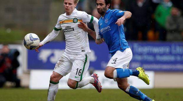 Celtic's Gary MacKay-Steven challenges Simon Lappin during their Scottish Premier League soccer match