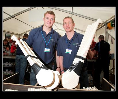 Canning brothers Joe and Ollie display their hurleys at the Ploughing Championships. Photo: Frank Mc Grath