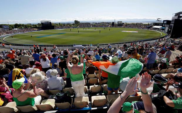 Spectators yell out as Ireland bat during their Cricket World Cup match against the West Indies in Nelson, February 16, 2015. REUTERS/Anthony Phelps