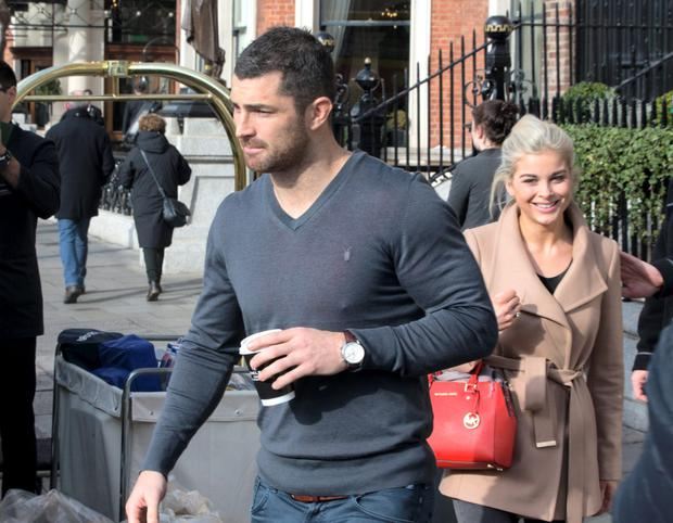 Rob Kearney and his new girlfriend Jess Redden leaving The Shelbourne Hotel on Sunday. Picture: Fergal Phillips