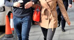 Rob Kearney and his new girlfriend Jess Redden leaving The Shelbourne Hotel on Sunday. Picture: John Dardis