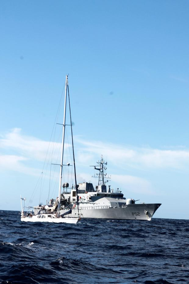 The LE Niamh escorts the yacht Makayabella into Cork Pic: Defence Forces