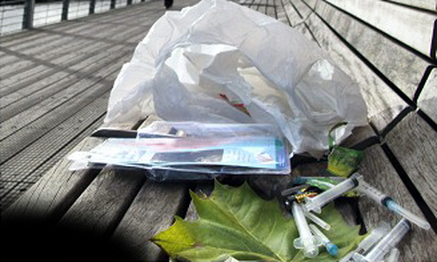 Needles and other drug paraphernalia seen on the Liffey boardwalk.