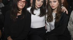 Ali Hewson and daughters Eve and Jordan attend the Edun show during Mercedes-Benz Fashion Week Fall 2015 at Skylight Modern on February 15, 2015 in New York City.
