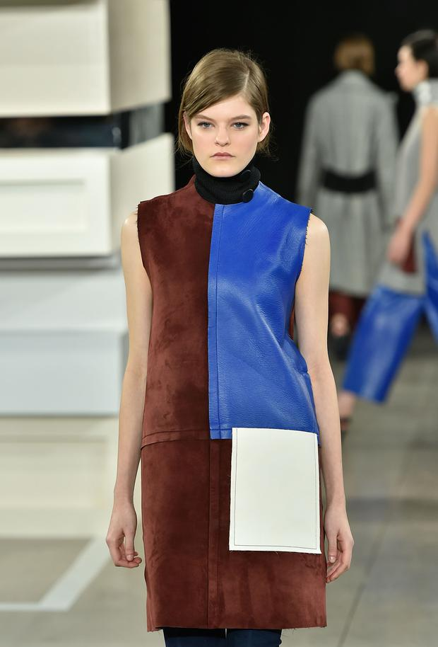 A model walks the runway at Edun fashion show during Mercedes-Benz Fashion Week Fall 2015 at Skylight Modern on February 15, 2015 in New York City.