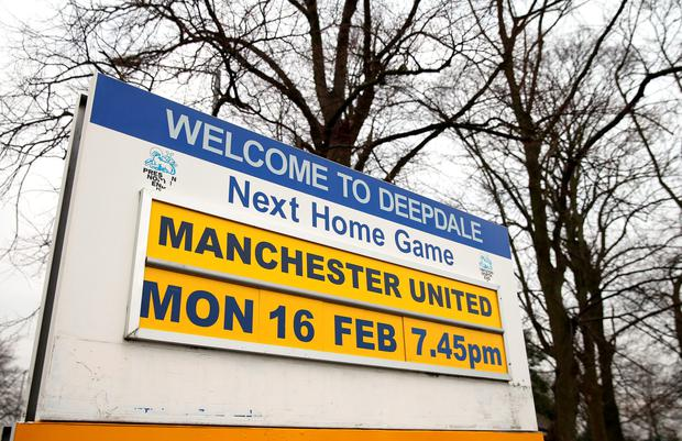 A sign outside Deepdale is seen showing the next home match for Preston North End on February 12 in Preston, England. (Photo by Alex Livesey/Getty Images)