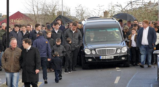 The funeral cortege of Barney McGinley pictured this morning after his funeral Mass at St. Mary's Church, Athlone. Photo: Colin Keegan, Collins Dublin