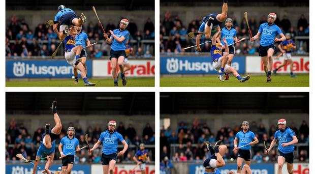 A composite image showing Dublin's Conal Keaney, with team mate Colin Cronin, right, tumbling over Shane McGrath, Tipperary. Keaney was shown a yellow card from referee Barry Kelly as a result. Picture credit: Ray McManus / SPORTSFILE