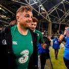 Ireland's Jamie Heaslip in clear discomfort following his side's victory over France
