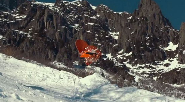 Sam Hardy smashes through a giant heart at 100 mph on the Chamonix mountain
