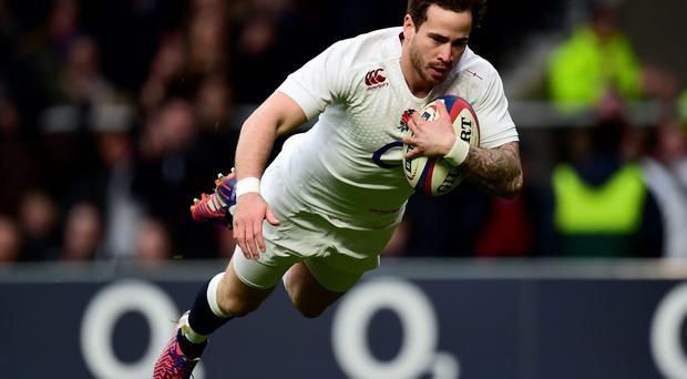 Danny Cipriani scores a try for England against Italy. Photo: Adam Davy/PA Wire