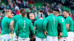 Joe Schmidt speaks with his players