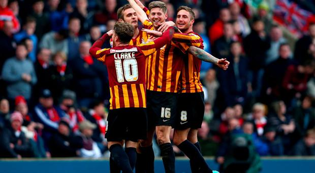 Jon Stead celebrates with his teammates after scoring Bradford City's second goal in their FA Cup fifth-round victory over Sunderland at Valley Parade. Photo: Clive Brunskill/Getty Images