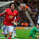 Marouane Fellaini celebrates after scoring Manchester United's second goal in their FA Cup fifth-round victory over Preston North End at Deepdale to set up a quarter-final against Arsenal. Photo: Michael Regan/Getty Images