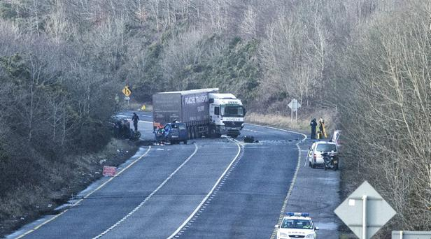 provision 160215 Scene of a serious traffic accident at Rathduff on the Cork-Mallow Road yes. Pic Michael Mac Sweeney/Provision